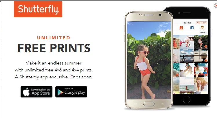 unlimited free 4x6 and 4x4 prints exclusively with the shutterfly