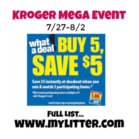 Kroger Mega Event Unadvertised Full List (Starts 7/27)