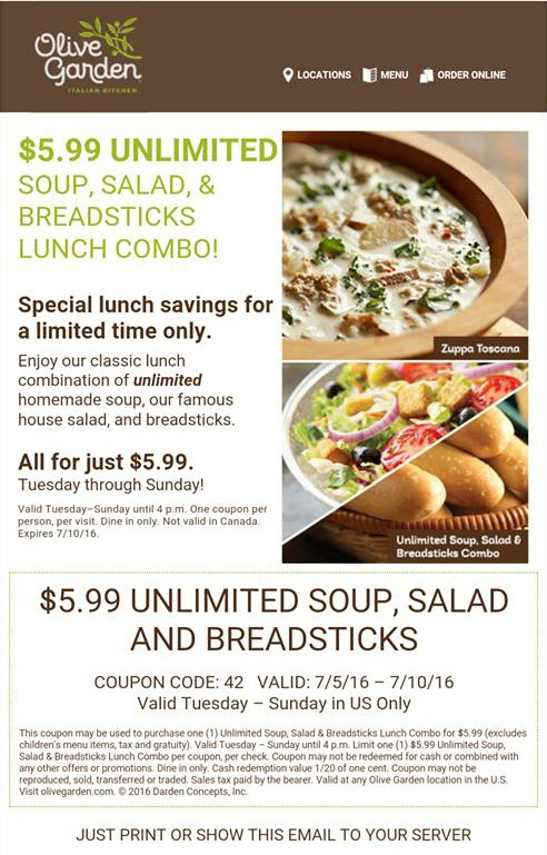 Unlimited Salad Soup And Bread Sticks Lunch Is Back