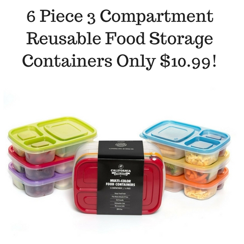 Amazon 6 Piece 3 Compartment Reusable Food Storage Containers Only