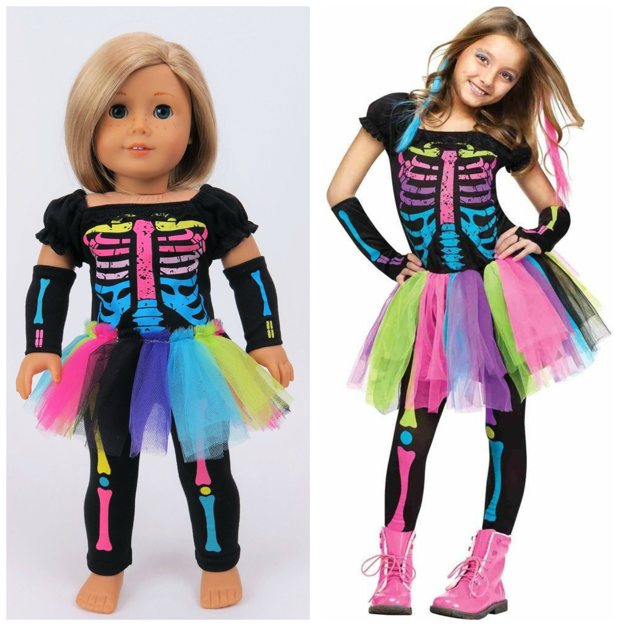 Electric Neon Skeleton Costume for Girls and American Girl ...