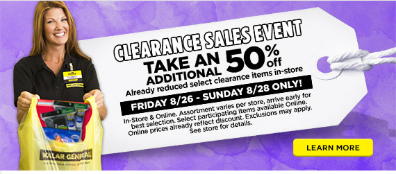 dollar general clearance sale
