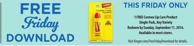 Kroger FREEBIE Friday – Load your card! (FREE Carmex Lip Care!)