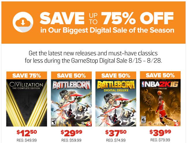 gamestop digital sale
