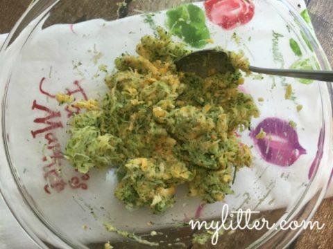 zucchini patties mixing bowl