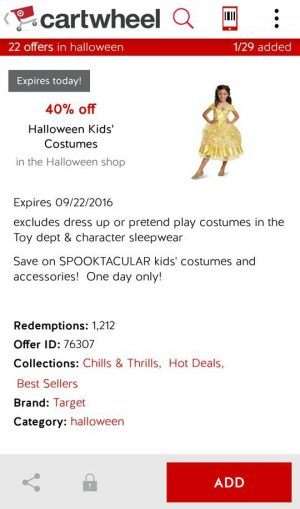 make sure to stop by target today if you are still shopping for your kiddos halloween costume download the 40 off coupon to your cartwheel app and scan at