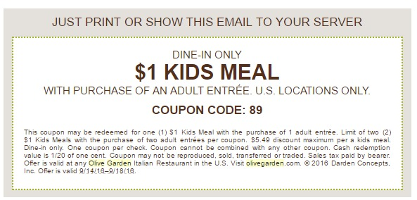 Kids Eat For 1 At The Olive Garden Through September 18th