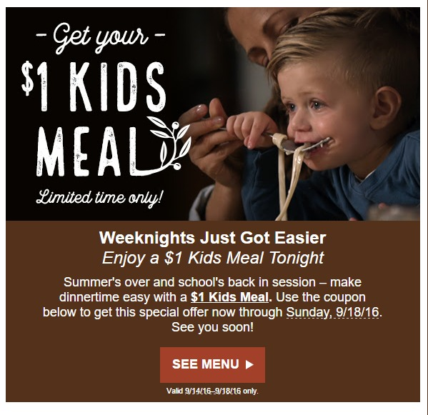 Kids Eat For 1 At The Olive Garden Through September 18th Mylitter One Deal At A Time