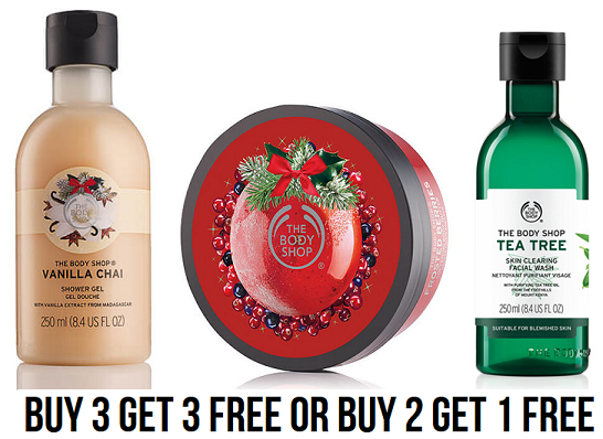 The Body Shop: FREE Shipping + Buy 3 Get 3 Free Sale (Items