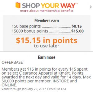 200533b24c6f5f Make sure you sign up with Shop Your Way Rewards before you grab this  amazing deal on Clearance Clothing! You get back $15 in SYW Points when you  send at ...