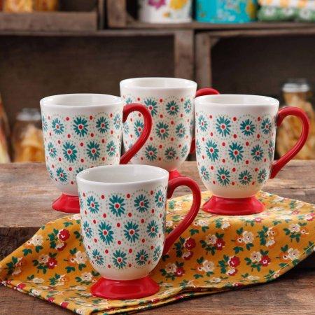 50 off the pioneer woman holiday daisy 155 oz latte mug set of 4 - Pioneer Woman Christmas