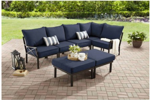 Fancy Right now at Walmart u snag this gorgeous Sandhill Pc Outdoor Sofa Section Set on rollback for just This gets great reviews and will be a