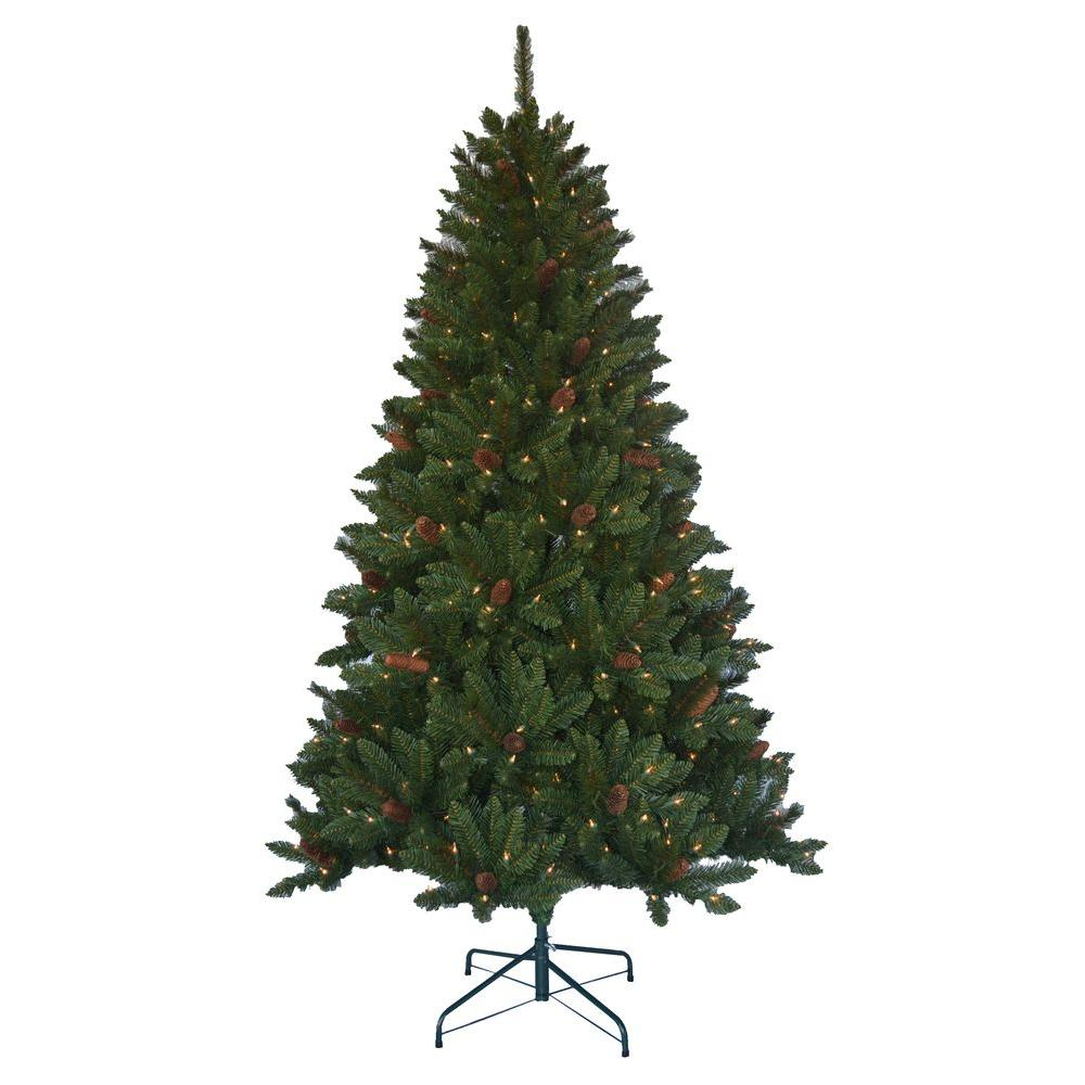 Chistmas Trees: 6.5' Jackson Spruce Artificial Pre-lit Christmas Tree W