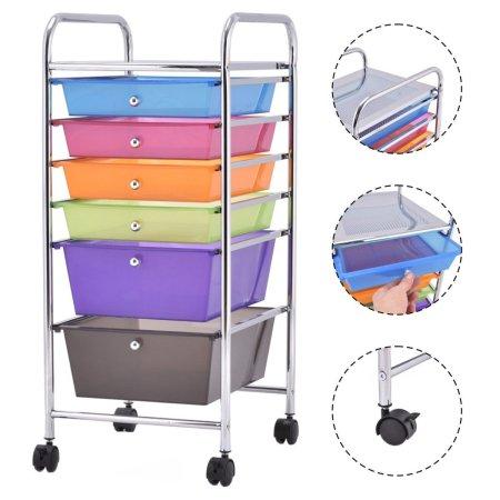 organize the dorm costway 6 drawer rolling storage cart organizer mylitter one deal. Black Bedroom Furniture Sets. Home Design Ideas