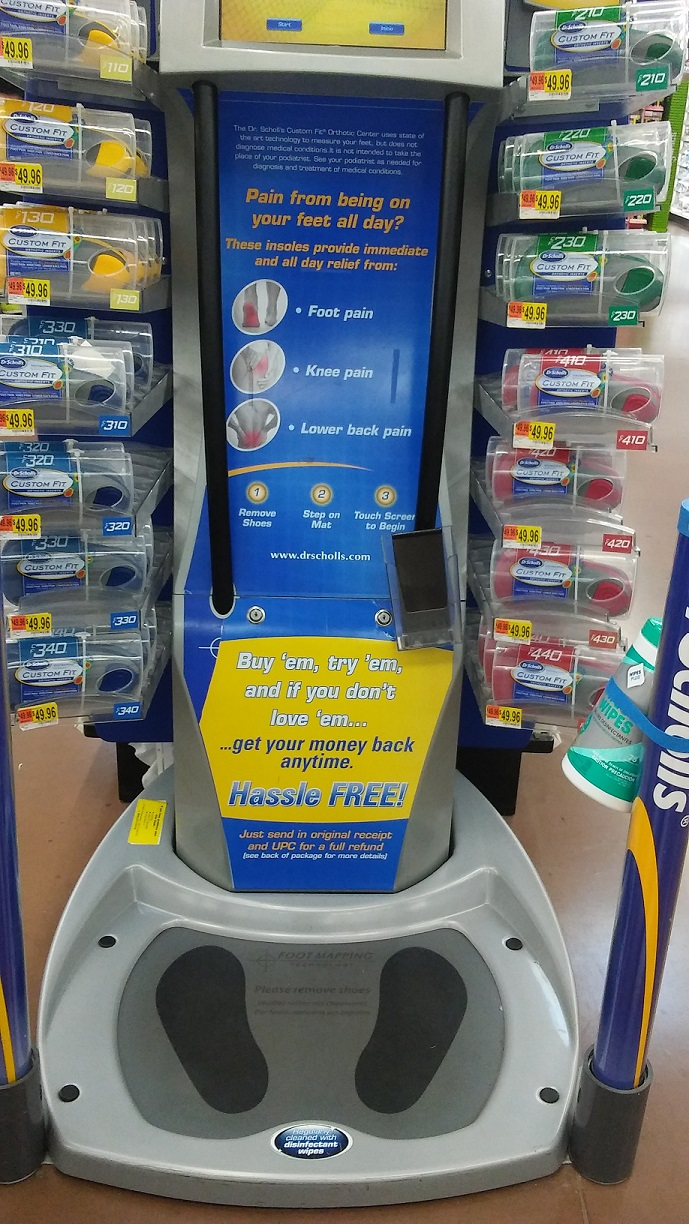 Dr. Scholls site for locations of these machines in the United States.. You will see a box in the right-hand corner to search by zip code. Many of them are located in Wal-Mart stores in the pharmacy area.