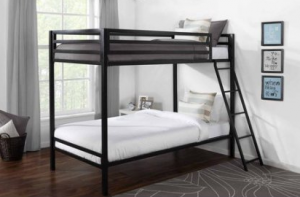 Best The Mainstays Twin Over Twin Premium Metal Bunkbed was the cheapeast we could find at just