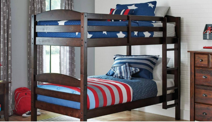 Wooden Bunk Bed 2 Twin Mattresses Only 189 Shipped
