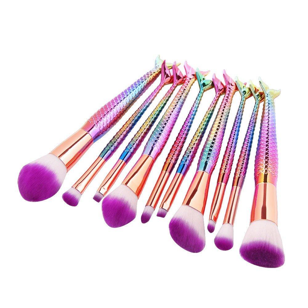 These look so Beautiful! 10pcs Mermaid Makeup Brush Set ...