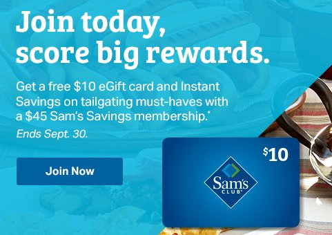 sam s club membership offer tailgate edition 10 gift card
