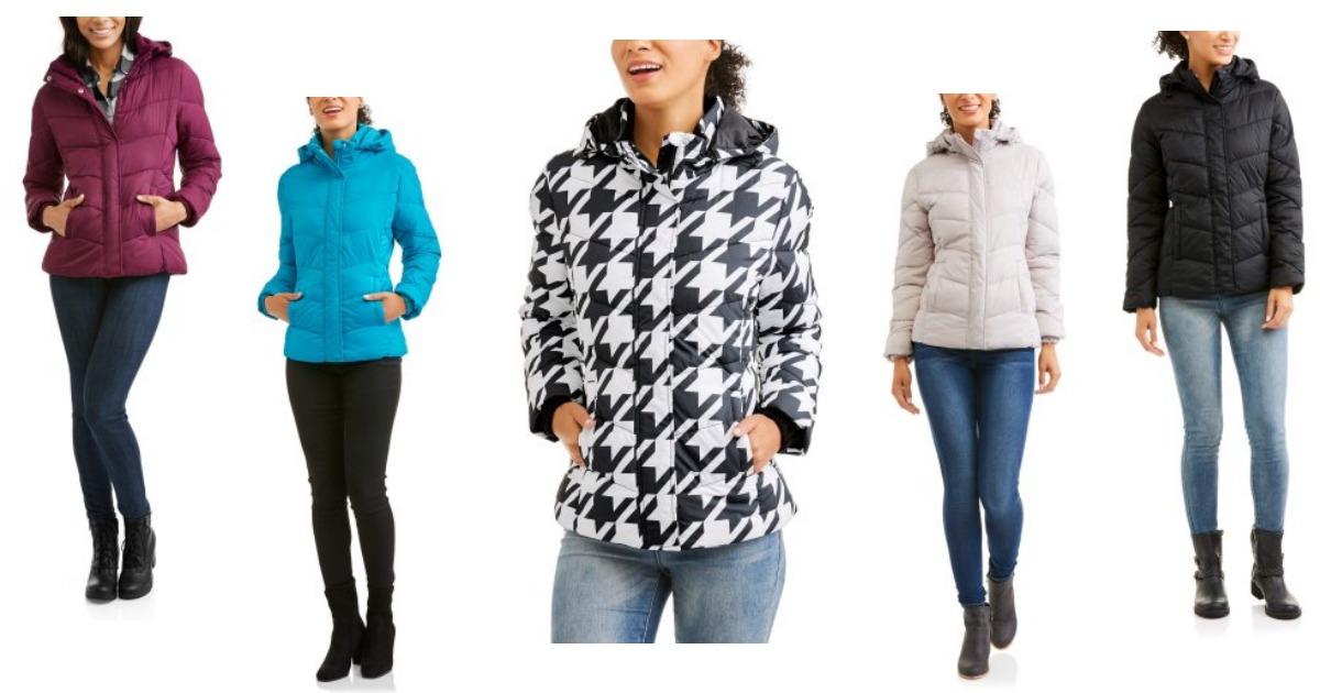 64e8c6b549e4 Walmart  Faded Glory Women s Hooded Puffer Jacket Coat only  12.96 ...
