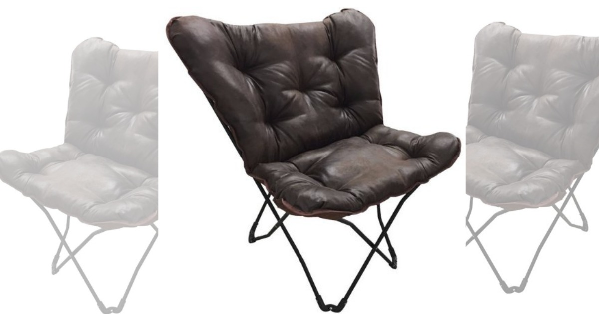 walmart mainstays soft fauxleather butterfly chair only 19 regular price