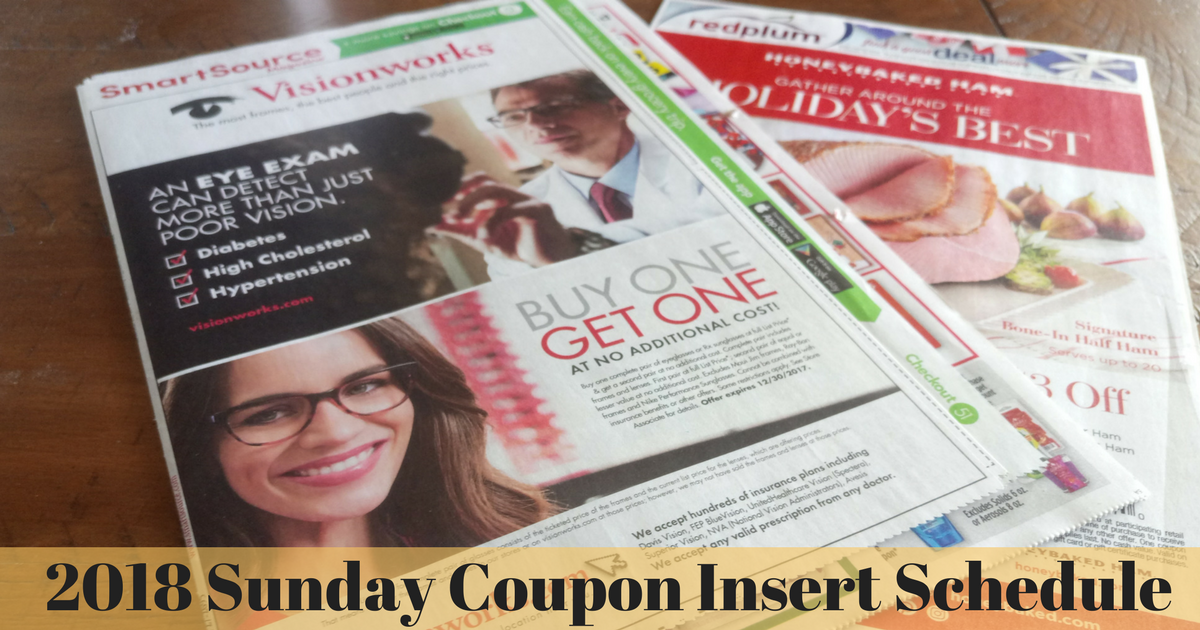 2018 Sunday Coupon Insert Schedule Mylitter One Deal At A Time