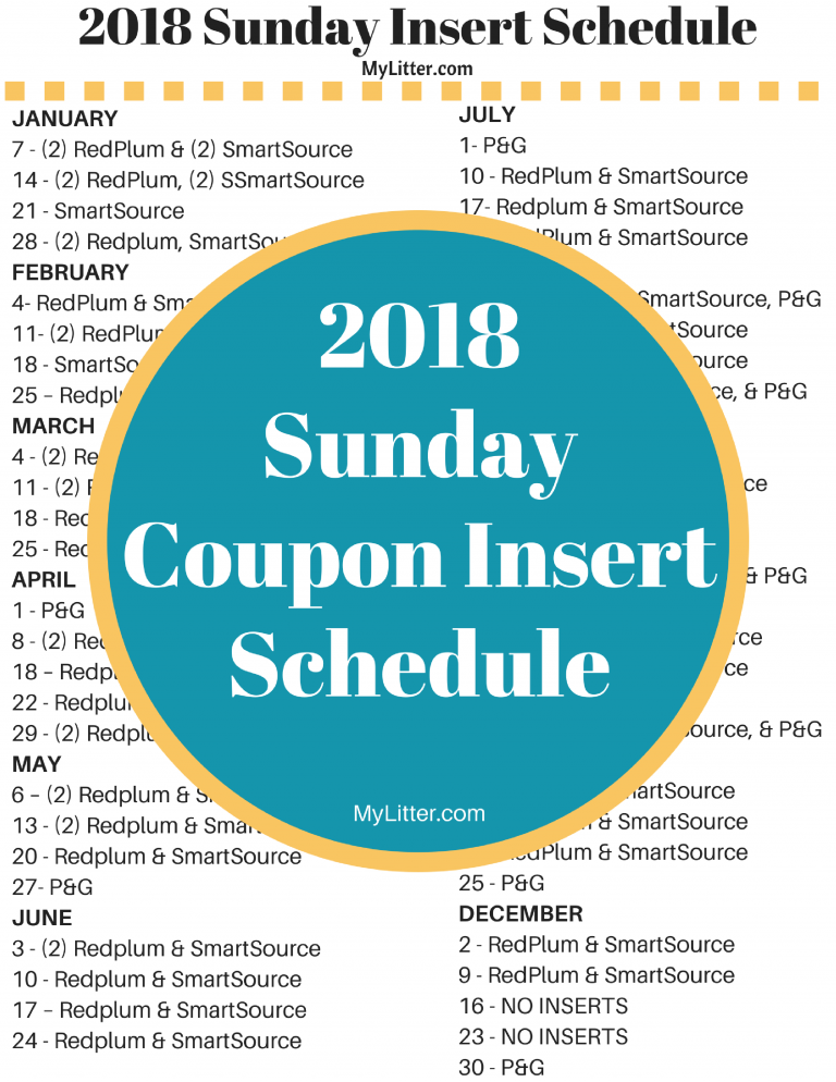 Coupon insert schedule 2018