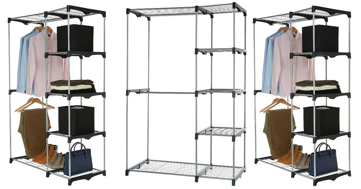 Amazon: AmazonBasics Double Rod Freestanding Closet Only $26.87 (Regular  Price: $36.99)