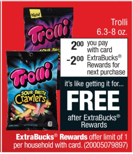 30bdfb00cf9 This week CVS has Trolli candy on sale for $2 but even better you will  receive $2 Extra Care Bucks for your next purchase making them FREE.