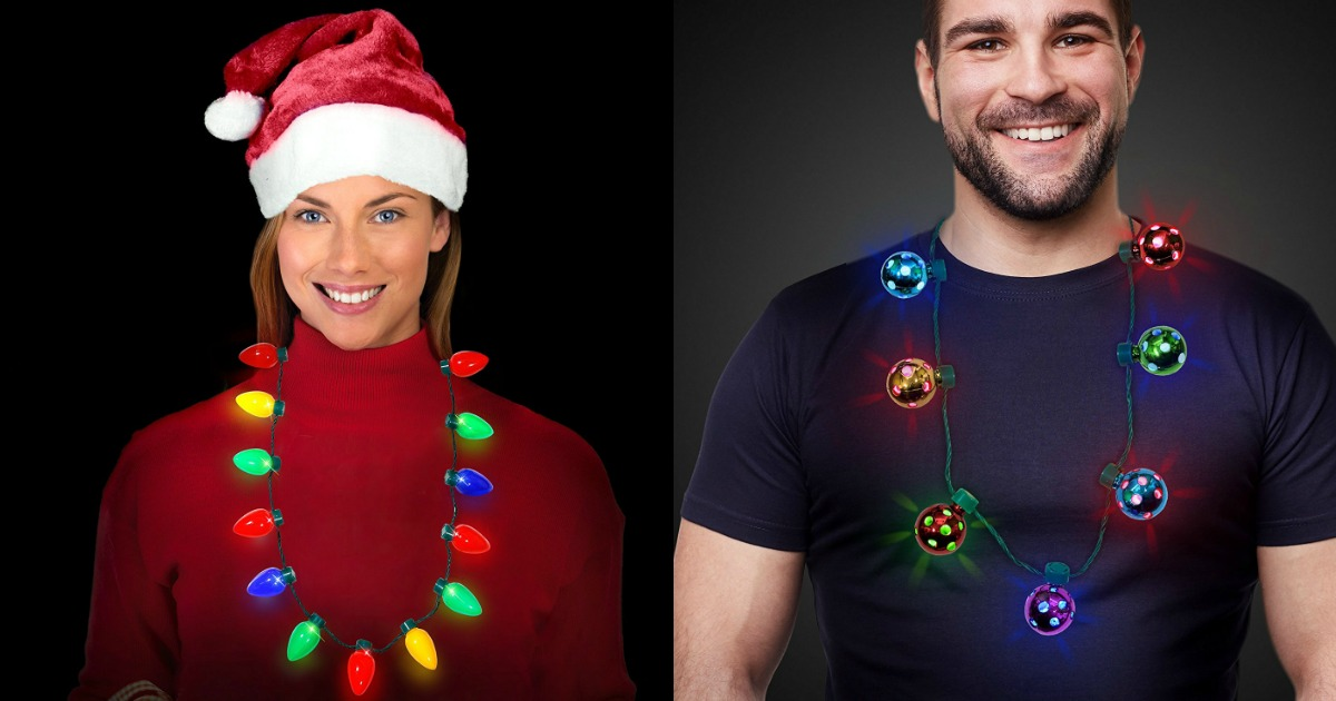 amazon 4 packs of fun led light up christmas bulb necklaces just 999