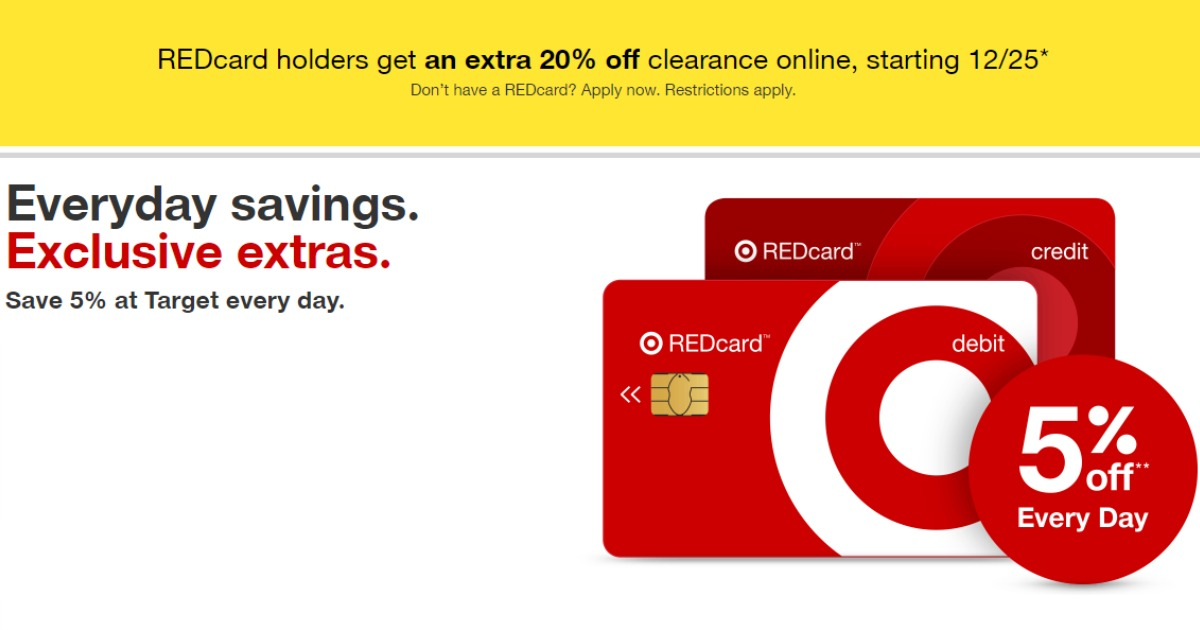 Target: Extra 20% Off Clearance with Target REDcard 12/25-12/31!