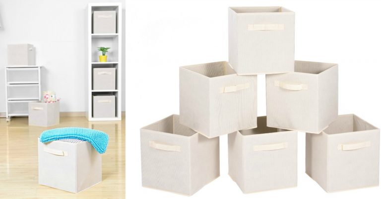 Amazon: Set Of 6 Foldable Cloth Storage Cubes With Dual Handles $7.99 (Reg.  $17.99)