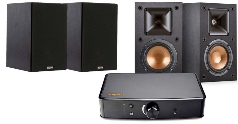 Amazon Klipsch Bookshelf Speakers And Powergate Amplifier Bundle Black 35999 Regular Price 698