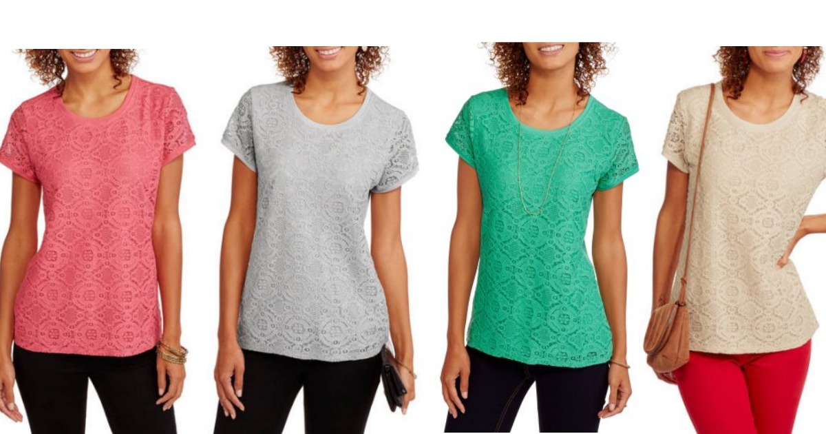 d7068c64 Walmart: Faded Glory Women's Short Sleeve Lace Front T-Shirt only $8  (regular price: $9.88)