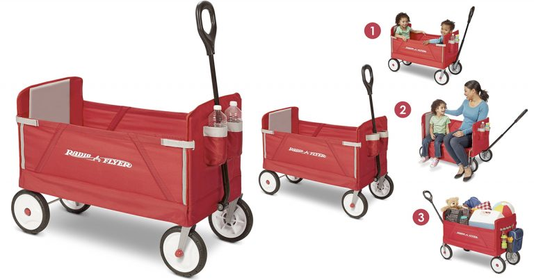 The Radio Flyer Pathfinder Wagon has the exclusive convertible feature -- fold up the seat for a comfortable ride, or fold the seat down for maximum hauling capacity. Features child seat belts, a super large storage compartment and 4 molded cup holders to accomodate cups, cans or juice boxes.
