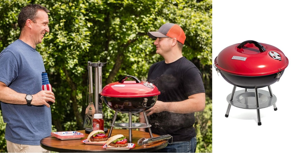 Cuisinart CCG 190RB Portable Charcoal Grill, 14 Inch, Red