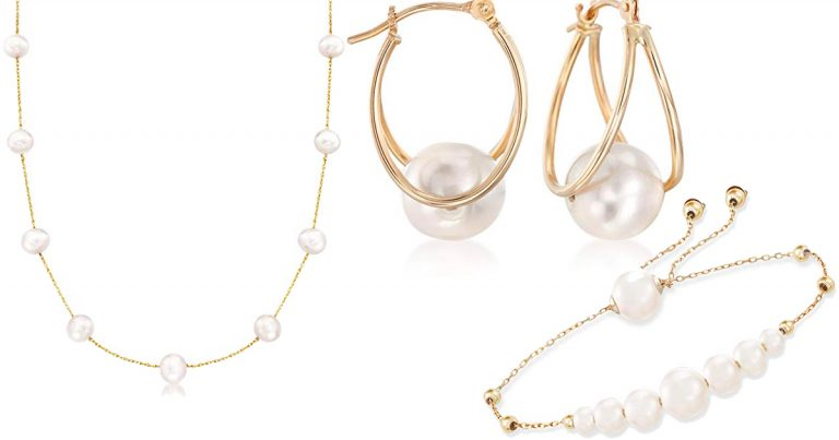 775b99fcf Save on 14K Freshwater Pearl Gifts from Ross-Simons · Ross-Simons 8-9mm  Cultured Pearl Double Hoop Earrings ...