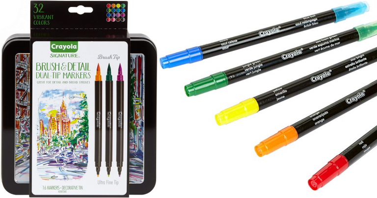 Crayola Brush Markers Dual Tip With Ultra Fine Marker 32